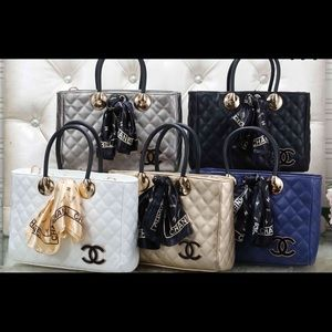 Hand bags with scarf